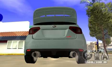 Subaru Impreza WRX STI 2008 LPcars v.1.0 para GTA San Andreas vista direita