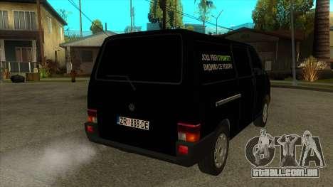 VW T4 Mrtvačka rodas para GTA San Andreas vista direita