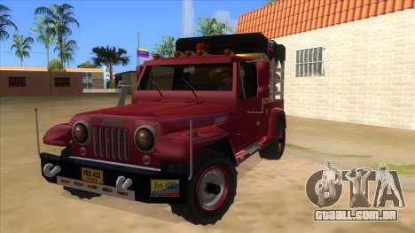 Jeep Pick Up Stylo Colombia para GTA San Andreas
