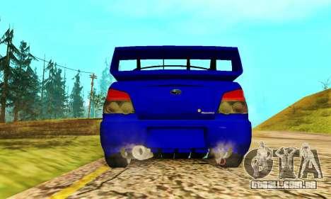 Subaru Impreza WRX STI Lisa para GTA San Andreas vista traseira