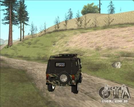 969М LuAZ Fora-de-Estrada para GTA San Andreas traseira esquerda vista