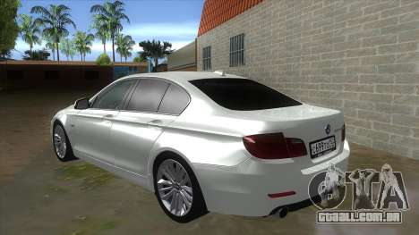 BMW 530XD F10 para GTA San Andreas traseira esquerda vista