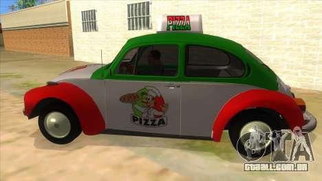 Volkswagen Beetle Pizza para GTA San Andreas esquerda vista