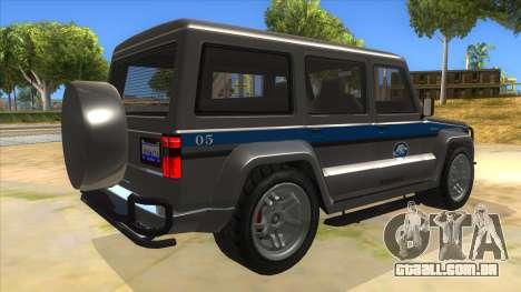 Benefactor Dubsta Jurassic World Security para GTA San Andreas vista direita