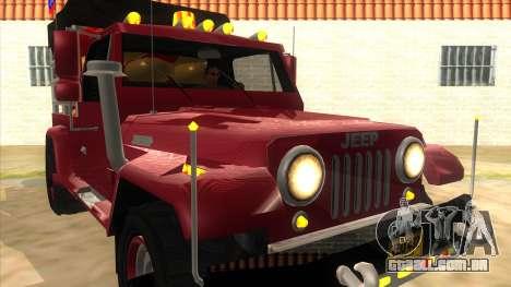 Jeep Pick Up Stylo Colombia para GTA San Andreas vista traseira