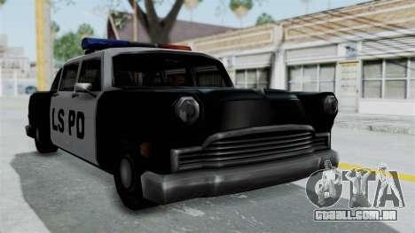 Police Cabbie para GTA San Andreas traseira esquerda vista