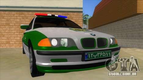 BMW Iranian Police para GTA San Andreas vista traseira