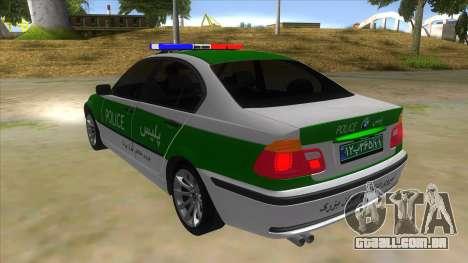 BMW Iranian Police para GTA San Andreas traseira esquerda vista