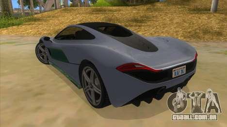 GTA 5 Progen T20 Lights version para GTA San Andreas traseira esquerda vista