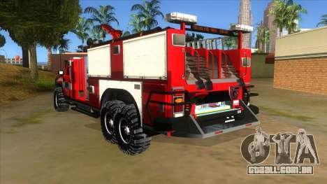 HUMMER H2 Firetruck para GTA San Andreas traseira esquerda vista
