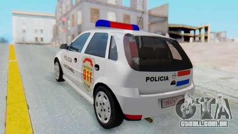 Opel Corsa C Policia para GTA San Andreas esquerda vista
