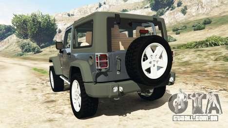 GTA 5 Jeep Wrangler 2012 v1.1 traseira vista lateral esquerda