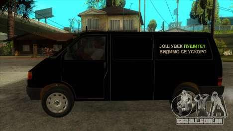 VW T4 Mrtvačka rodas para GTA San Andreas esquerda vista