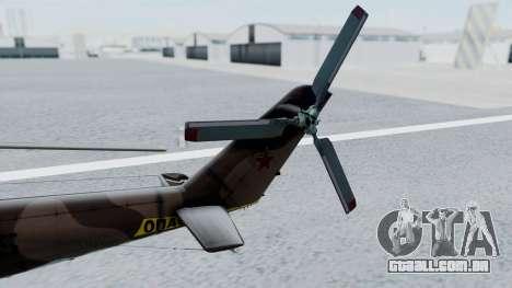 Mi-24V Soviet Air Force 0835 para GTA San Andreas traseira esquerda vista