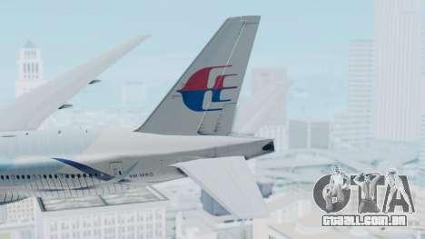 Boeing 777-2H6ER Malaysia Airlines para GTA San Andreas traseira esquerda vista