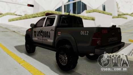 Toyota Hilux 4WD 2015 Georgia Police para GTA San Andreas esquerda vista