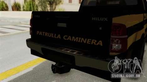 Toyota Hilux 2015 Patrulla Caminera Paraguaya para GTA San Andreas vista traseira