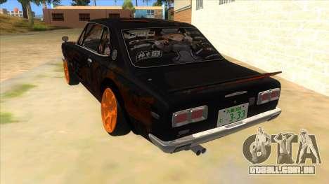 1971 Nissan GT-R Hakosuka para GTA San Andreas traseira esquerda vista