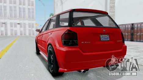 GTA 5 Benefactor Serrano para GTA San Andreas traseira esquerda vista