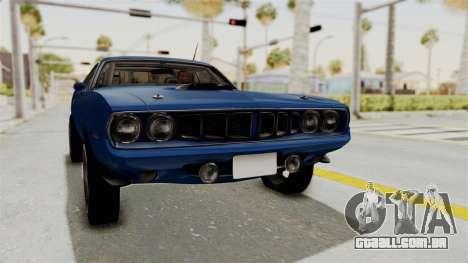 Plymouth Hemi Cuda 1971 Drag para GTA San Andreas vista direita