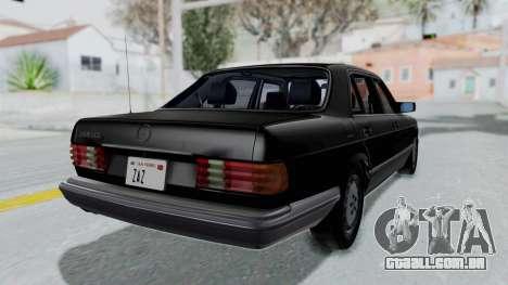 Mercedes-Benz 560SEL 1987 US-spec para GTA San Andreas esquerda vista