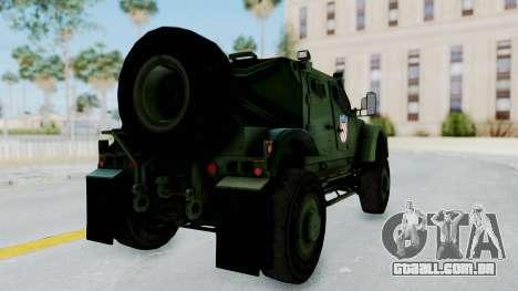 Croatian Oshkosh M-ATV Woodland para GTA San Andreas traseira esquerda vista