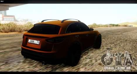 Infiniti FX37 para GTA San Andreas vista traseira