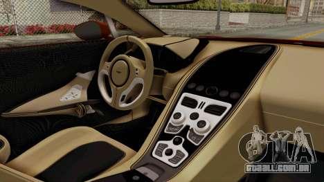 Aston Martin One-77 2010 Autovista Interior para GTA San Andreas vista direita