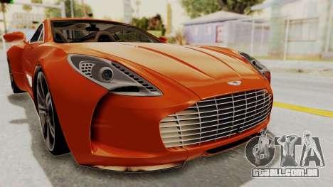 Aston Martin One-77 2010 Autovista Interior para vista lateral GTA San Andreas
