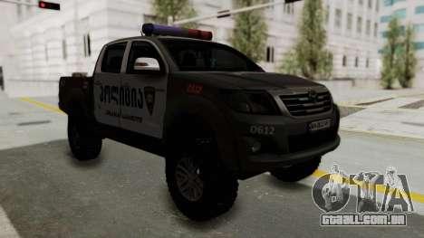 Toyota Hilux 4WD 2015 Georgia Police para GTA San Andreas vista direita