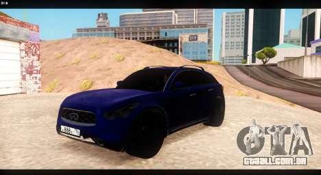 Infiniti FX37 para GTA San Andreas vista interior