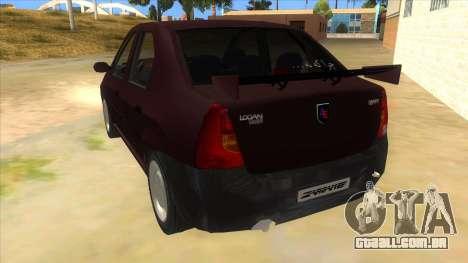 Dacia Logan Sport para GTA San Andreas traseira esquerda vista