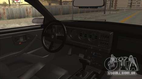 Pontiac Firebird Trans Am Monster Truck 1982 para GTA San Andreas vista interior