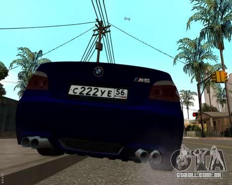 BMW M5 E60 v1.0 para GTA San Andreas vista direita