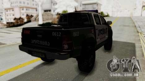 Toyota Hilux 4WD 2015 Georgia Police para GTA San Andreas traseira esquerda vista