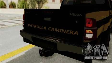 Toyota Hilux 2015 Patrulla Caminera Paraguaya para GTA San Andreas vista interior