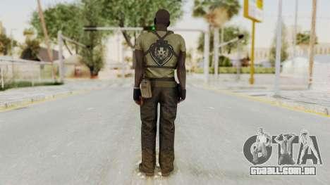MGSV Phantom Pain RC Soldier T-shirt v2 para GTA San Andreas terceira tela