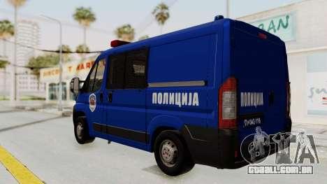 Fiat Ducato Police para GTA San Andreas traseira esquerda vista