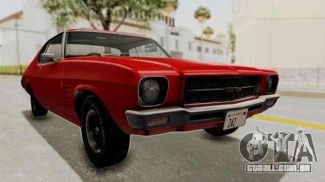 Holden Monaro GTS 1971 SA Plate HQLM para GTA San Andreas traseira esquerda vista