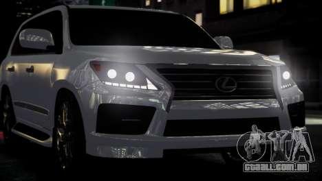 Lexus Lx 570 2014 sport para GTA 4 vista de volta