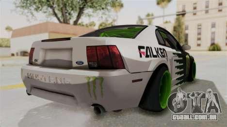 Ford Mustang 1999 Drift Monster Energy Falken para GTA San Andreas traseira esquerda vista