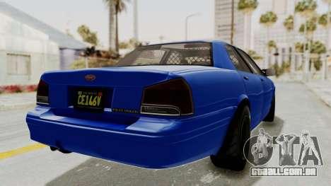 GTA 5 Vapid Stanier II Police Cruiser 2 para GTA San Andreas vista direita
