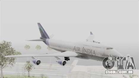 Boeing 747-400 Air India para GTA San Andreas traseira esquerda vista