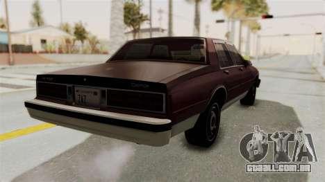 Chevrolet Caprice 1987 v1.0 para GTA San Andreas traseira esquerda vista