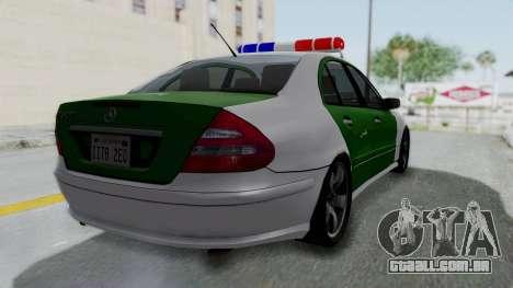 Mercedes-Benz E500 Police para GTA San Andreas esquerda vista