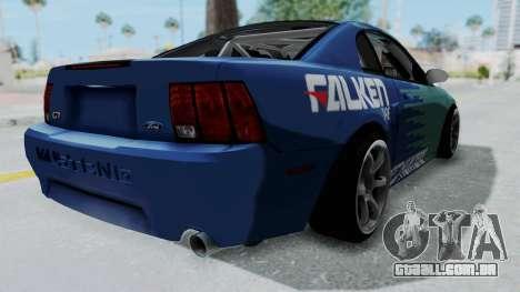 Ford Mustang 1999 Drift Falken para GTA San Andreas traseira esquerda vista