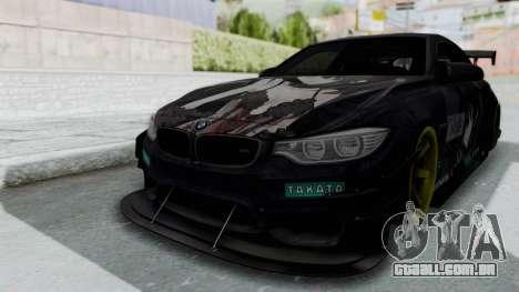 BMW M4 Kurumi Itasha para GTA San Andreas traseira esquerda vista