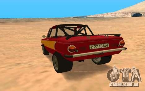 ЗАЗ-968 Estilo Offroad para GTA San Andreas traseira esquerda vista