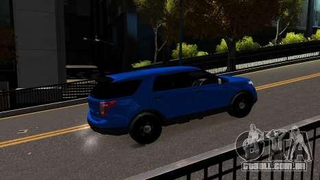 Ford Explorer 2013 para GTA 4 vista de volta
