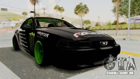 Ford Mustang 1999 Drift Monster Energy Falken para GTA San Andreas vista direita